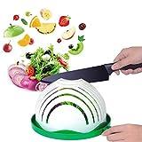 Salad Cutter Bowl, Anglink Upgraded Salad Maker Family Size Fast Vegetable Cutter Bowl, Salad Slicer Salad Chopper Strainer Cutting Board 4 in 1 Durable FDA-Approved for Kitchen