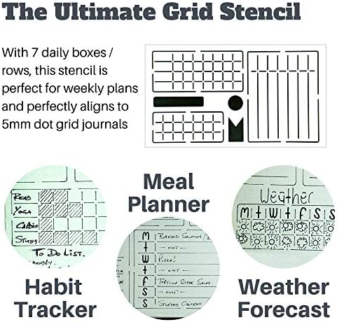Ultimate Productivity Journal Stencil Set - Custom-Designed Supplies for Bullet Dotted Journal Planners, DIY Templates to Create Calendars, Lists, Letters, Numbers, Habit Trackers by Sunny Streak 3
