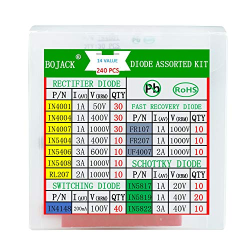 BOJACK-14-Value-240-pcs-Diode-Assortment-Kit-Contain-RectifierFast-RecoverySchottkySwitching-Diode-1N4001-1N4004-1N4007-1N5404-1N5406-1N5408-RL207-FR107-FR207-UF4007-1N5817-1N5819-1N5822-1N4148