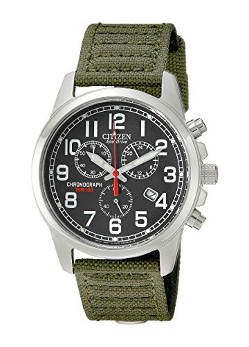 51 gjF90rVL Military-inspired stainless steel watch with round dial, red contrasting second hand, and rugged green canvas band Japanese quartz movement with analog display Charges in natural sunlight or indoor light;Case Size 39mm