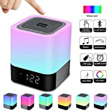Alarm Clock Bluetooth Speaker Night Light Bluetooth Speaker,Touch Sensor Bedside Lamp,Dimmable Warm Light & Color Changing RGB LED Table Lamp MP3 Music Player for Kids,Bedroom,Camping (Newest Version)
