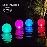 Esuper Floating Ball Pool Light Solar Powered 4 Pack, 14 Inch Inflatable Hangable IP68 Waterproof Rechargeable 4 Color Changing Led Glow Globe Pool Night Lamp for Garden, Pond, Party Decor