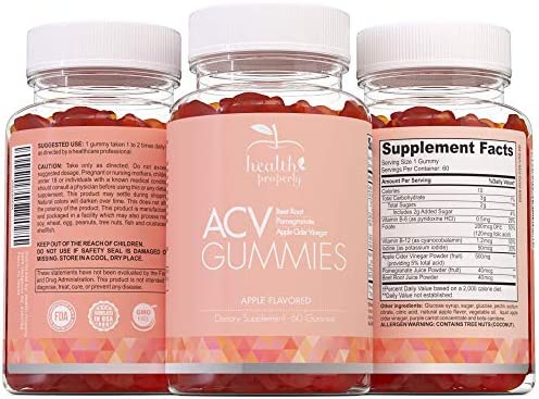 HEALTH PROPERLY - Apple Cider Vinegar Gummies | Immune System Support | Liver Detox & Weight Loss | Great Taste 60 Count | All Natural Superfood Cleanse 5