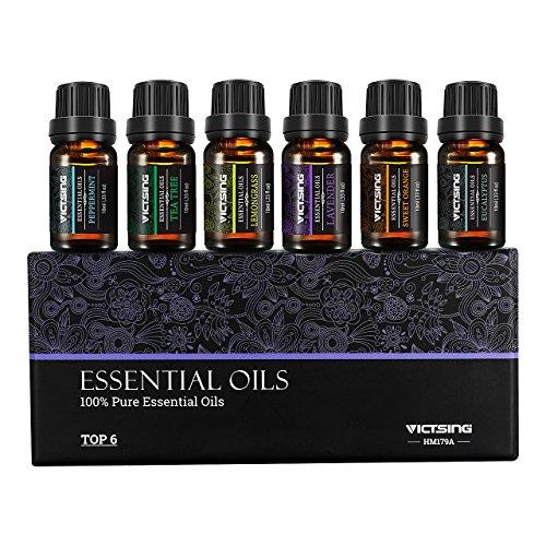 VicTsing Set of 6 Aromatherapy Essential Oils, 100% Pure Therapeutic Grade, Gift Set for Women and Men(Orange, Lavender, Tea Tree, Lemongrass, Eucalyptus, Peppermint, 10ml/bottle)