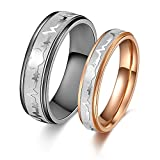 His or Hers Matching Set Heart Beat Chart Titanium Couple Wedding Band Ring