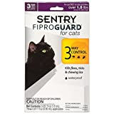 SENTRY Fiproguard for Cats, Flea and Tick Prevention for Cats (1.5 Pounds and Over), Includes 3 Month Supply of Topical Flea Treatments