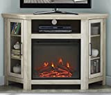 WE Furniture 48' Wood Corner Fireplace Media TV Stand Console - White Oak