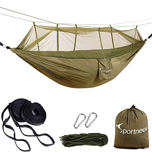 Sportneer Double Camping Hammock with Mosquito/Bug Net, Lightweight Parachute Portable Hammocks for Hiking, Travel, Backpacking, Beach, Yard Gear with Tree Strap