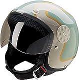 HCI Open Face Fiberglass Motorcycle Helmet Green/Gold w/Face Shield 15-660 (Md)