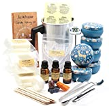 JulWhisper Candle Making Kit to Make 6 Large Scented Soy Candles, Candle Beginners Set Including: Soy Wax, Melting Pot, Rich Scents, Digital Thermometer, 3 Color Dye, 3 Gift Bags, 50PCS Wicks & More