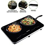 Ovente Electric Double Ceramic Glass Induction Countertop Burner with 8 Temperature Control, 1800 Watts, Child Safety Lock, Portable, LED Digital Display Panel, Auto Shutoff, Black (BG62B)