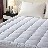 EASELAND King Size Mattress Pad Pillow Top Mattress Cover Quilted Fitted Mattress Protector Stretches up 8-21' Deep Pocket Hypoallergenic Cooling Mattress Topper