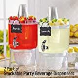 2 Pack Cold Beverage Drink Dispenser Stackable 1.75 Gallon with Chalkboard Label