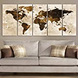 Original by BoxColors Xlarge 30'x 70' 5 Panels 30x14 Ea Art Canvas Print Watercolor Brown Map World Push Pin Travel Wall decor Home (framed 1.5' depth) M1801