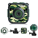[Upgraded] Prograce Kids Camera Waterproof Action Video Digital Camera 1080 HD Camcorder for Boys Toys Gifts Build-in Game (Green)