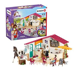 Schleich Horse Club 66-piece Horse Rider Café Playset with Horse Toy and Horse Accessories for Kids Ages 5-12