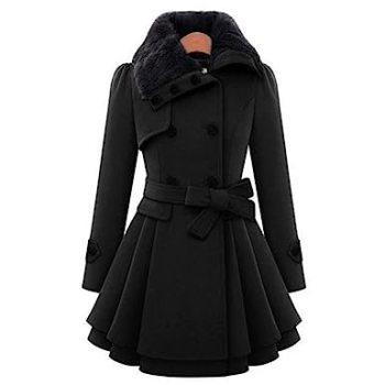 Image result for Minisoya Women's Double-breasted Parka Windbreaker Outwear Asymmetric Cloak Winter Ruched Coat Jacket