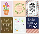 12 Pack Jumbo Mother's Day & Father's Day Greeting Cards, 6 Assorted Unique Multicolor Designs, Bulk Box Set Variety Assortment, Envelopes Included, 8.5 x 11 Inches
