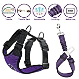 Lukovee Dog Safety Vest Harness with Seatbelt, Dog Car Harness Seat Belt Adjustable Pet Harnesses Double Breathable Mesh Fabric with Car Vehicle Connector Strap for Dog (Medium, Purple Seatbelt)
