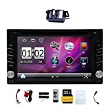 Upgrade Version With Camera ! 6.2' Double 2 DIN Car DVD CD Video Player Bluetooth GPS Navigation Digital Touch Screen Car Stereo Radio Car PC 800MHZ CPU