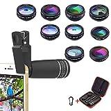Phone Lens Kit, 10 in 1 Cell Phone Camera Lens- Zoom Telephoto Lens + Fisheye Lens + Wide Angle & 15x Macro Lens+ CPL/Flow/Radial/Star Filter+Kaleidoscope 3/6 Lens for iPhone X 8 7 6 6s Plus Samsung