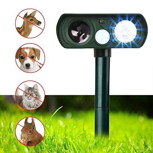 Dog Repellent, Outdoor Solar Powered and Weatherproof Ultrasonic Dog/Cat/Mosquito Repeller