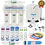 Global Water RO-505 5-Stage Reverse Osmosis System Water Quality Filter- 24 HOUR USA Tech Support - Plus Extra Set Of 4 Filters For Free
