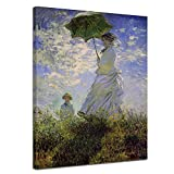 LVLUOYE Wall Art Canvas Decor - Canvas Wall Painting - Claude Monet - Woman with Umbrella - Hand Painted Mural - Living Room Stretched Canvas,80x60cm