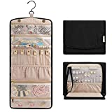 BAGSMART Travel Jewelry Organizer Roll Foldable Jewelry Case for Journey-Rings, Necklaces, Bracelets, Earrings
