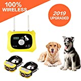 Wireless Dog Fence Electric Pet Containment System, Safe and Effective Anti Over Shock Design, Adjustable Control Range Up to 1000 Feet & Display Distance, 2 Collar Receivers Rechargeable Waterproof