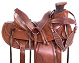 """Product review for 15"""" 16"""" 17"""" 18"""" ROUGH OUT WESTERN LEATHER TOOLED RANCHING COMFY PLEASURE HORSE SADDLE TACK SET PREMIUM"""