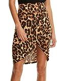 SheIn Women's Casual Split Warp Asymmetrical Elastic High Waist Mini Short Skirt Small Leopard