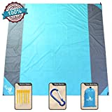 NS SeaPro Sandfree Beach Blanket 82X79In Extra Large,Pocket Zipper Portable Waterproof and Quick Dry Outdoor Family Mat for Beach,Soft Compact Beach Mat Picnic Blanket,Camping,Hiking (Blue-Gray)