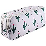 SIQUK Cactus Pencil Case Large Capacity Pen Case Double Zippers Cactus Pen Bag Office Pen Holder Organizer Stationery Bag Cosmetic Bag with Compartments for Gilrs Boys and Adults