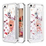 Caka Case for iPhone SE 5 5S Glitter Case Bling Sparkle Shining Christmas Santa Liquid Luxury Fashion Flowing Floating Quicksand Glitter Soft TPU Women Girls Silver Case for iPhone 5 5S SE (Moose)