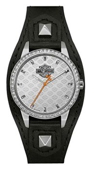 Harley-Davidson Women's Crystal Embellish Shaped Cuff Watch, Black/Silver 76L183