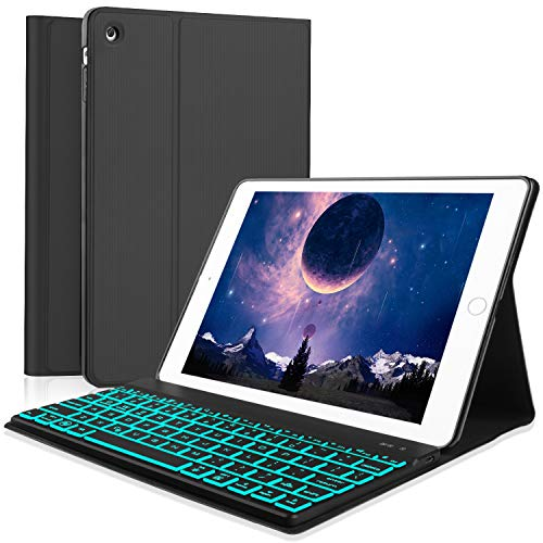 Boriyuan iPad 2 3 4 Keyboard Case, 7 Colors Backlit Detachable Keyboard Slim Leather Folio Cover for Apple iPad 2/ iPad 3/ iPad 4 (A1458/1459/A1416/A1430/A1403/A1396/A1397/A1395/A1460) - Black