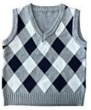 Product review for MOMOLAND Toddler Kids Boys Sweater Vest Argyle School Uniform Clothes Red Grey