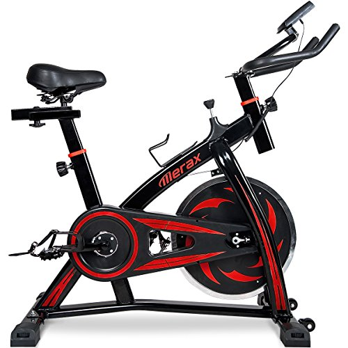 Merax Indoor Cycling Bike Trainer – Stationary Exercise Bicycle Fitness Equipment for Home Gym Workout (Black&Red)