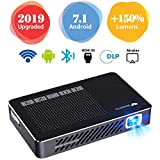 Mini Projector WOWOTO A5 Pro 100ANSI Android 7.1 2+32G Portable DLP Video Projector 150' Home Theater Projectors with BT4.0 Support WiFi Wireless Screen Share 1080P HDMI USB SD Card