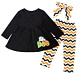 Baby Girls Halloween Clothes Toddler Infant Letter Ghost Dresses Pants Outfits 3Pcs (Black, 18-24 Months(90))...