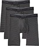 Tommy John Men's Go Anywhere Boxer Briefs - 3 Pack - No Ride-Up Comfortable Striped Underwear for Men (Black Minimal, Medium)