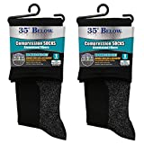 35 Below Compression Socks - As Seen On TV - 2 Pairs in Black; Size Large - 2-IN-1 Compression & Warming Socks - Aluminized Thread with Aerospace Fabric Technology