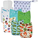 Wegreeco Washable Reusable Baby Cloth Pocket Diapers 6 Pack + 6 Bamboo Inserts (with 1 Wet Bag,Neutral Prints)