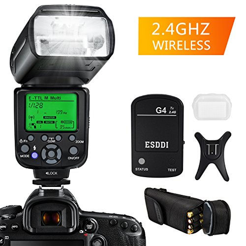 ESDDI Flash Speedlite for Canon , E-TTL 1/8000 HSS LCD Display Wireless Flash Speedlite GN58 2.4G Wireless Radio Master Slave, Professional Flash Kit with Wireless Flash Trigger for Canon DSLR Cameras