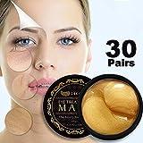 24K Gold Eye Treatment Masks Under Eye Pads Under Eye Bag Collagen Eye Mask for Anti Aging, Under Eye Dark Circles &Puffiness, Under Eye Patches for Anti Wrinkle, Moisturising, Whitening - 60pcs