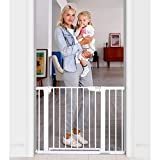 "Cumbor 43.5"" Auto Close Safety Baby Gate, Extra Tall and Wide Child Gate, Easy Walk Thru Durability Dog Gate for The House, Stairs, Doorways. Includes 4 Wall Cups, 2.75-Inch and 8.25-Inch Extension, W"