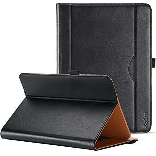 ProCase Universal Case for 9-10 inch Tablet, Stand Folio Case Protective Cover for 9' 10.1' Touchscreen Tablet, with Multiple Viewing Angles, Document Card Pocket and Bonus Stylus Pen – Black