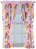 Disney Princess Sassy 63' Inch Drapes 4 Piece Set - Beautiful Room Décor & Easy Set Up, Bedding Features Cinderella & Belle - Window Curtains Include 2 Panels & 2 Tiebacks (Official Disney Product)