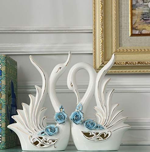 LuvBells™ Pair of Swan Figurines (23cm & 22cm Height) Home Decor Statues Bone China Material Decorative Sculpture Set of 2 Symbol of Love and Elegance White Color with (Blue Flower)